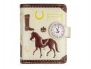 ,<b>Portemonnee met magneetsluiting 12x9 cm paarden beige</b>