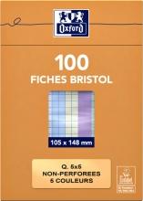 , Flashcard Oxford 105x148mm 100vel 210gr ruit 5mm assorti