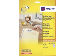 , etiket Avery ILK 25,4x10mm wit NP 25 vel 189 etiketten per  vel