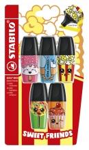 , Markeerstift STABILO Boss mini sweet friends blister à 5 kleuren