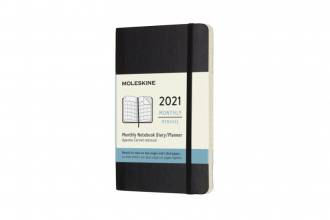, Moleskine 12 MND Agenda - 2021 - Maandelijks - Pocket (9x14 cm) - Zwart - Zachte Kaft