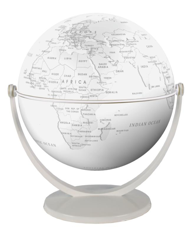 ,Globe 15 cm pol. wit gestileerd draai & kantel