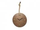 ,Wandklok NeXtime 33 x 58 x 3 cm, hout, bruin, `Stitch`