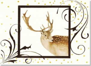 Golden Reindeer Deluxe Boxed Holiday Cards