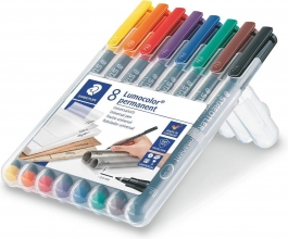 , Viltstift Staedtler Lumocolor 318 permanent F set à 8 stuks assorti