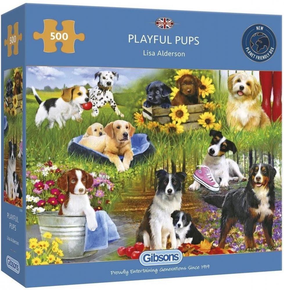 Gib-g3129,Puzzel gibsons playful pups lisa  alderson 500 stukjes 48cm x 34cm