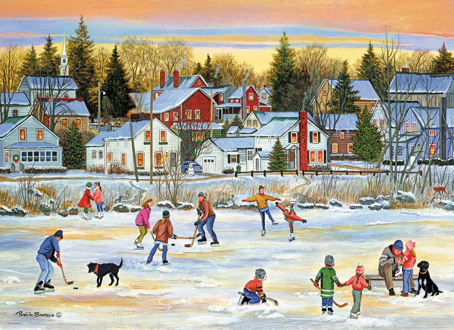 Eur-6000-5439,Puzzel evening skating - p. bourque - eurogtraphics - 1000 - 48 x 68