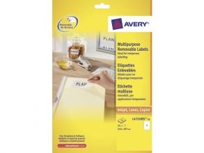, etiket Avery ILK 210x297mm wit NP 25 vel 1 etiket per vel