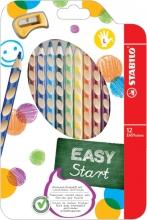 , Kleurpotloden STABILO Easycolors linkshandig etui à 12 kleuren met puntenslijper