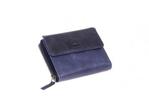 , Portefeuille Mika blauw Leer 13,5x10x2,5cm