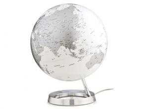, globe Bright Chrome 30cm diameter kunststof voet engelstalig