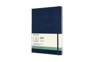 , Moleskine 12 MND Agenda - 2021 - Wekelijks - XL (13X25 cm) - Sapphire Blauw - Harde Kaft