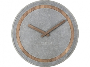 , Wandklok NeXtime dia. 39.5 cm, polyresin/hout, grijs