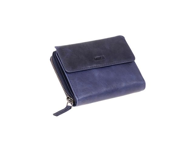 ,Portefeuille Mika blauw Leer 13,5x10x2,5cm
