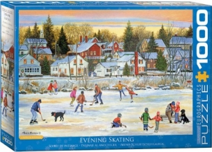 Eur-6000-5439 , Puzzel evening skating - p. bourque - eurogtraphics - 1000 - 48 x 68