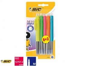 , Balpen Bic M10 colors limited edition blister 8+2 gratis