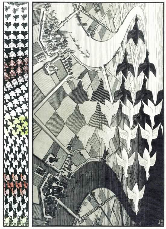 Puz-829,Puzzel m.c. escher - day and night - 1000