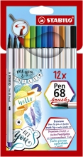 , Brushstift STABILO Pen 568/12-21 etui à 12 kleuren
