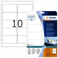 , Etiket Herma 4349 A4 96x50.8mm verwijderbaar wit