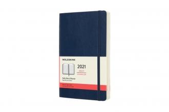 , Moleskine 12 MND Agenda - 2021 - Dagelijks - Large (13x21 cm) - Sapphire Blauw - Zachte Kaft