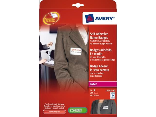 ,badge etiket Avery 50x80mm NP 20 vel 10 etiketten per vel   wit/blauw