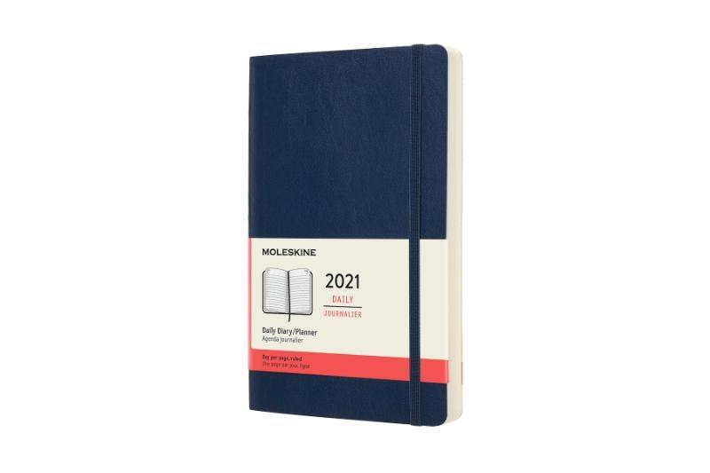 ,Moleskine 12 MND Agenda - 2021 - Dagelijks - Large (13x21 cm) - Sapphire Blauw - Zachte Kaft