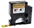 ,Labeltape Dymo 84349 D1 12mmx3m zwart op goudglitter