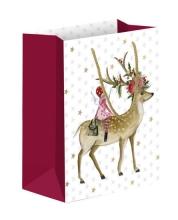 , Geschenktas kerst met hert en elfje 18x20