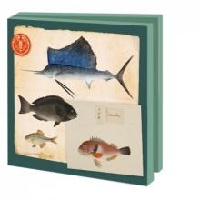 Wmc 948 , Notecards 10 stuks 15x15 vissen philipp franz von siebold