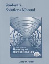 Tom Carson,   Bill E. Jordan Student`s Solutions Manual for Elementary and Intermediate Algebra