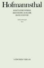 Hofmannsthal, Hugo von Smtliche Werke 38/39