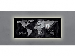 , glasmagneetbord Sigel Artverum LED 1300x550x15 wereldkaart