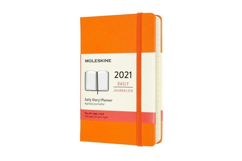,Moleskine 12 MND Agenda - 2021 - Dagelijks - Pocket (9x14 cm) - Cadmium Oranje - Harde Kaft