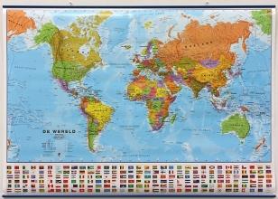 Maps International (ml.maps1/6 Wereld Politiek Plano + Vlaggen (strips In Tube)