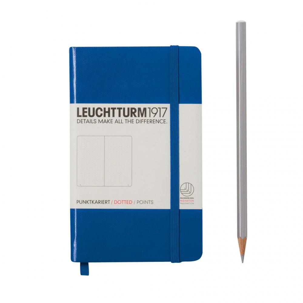 Lt344753,Leuchtturm notitieboek pocket 90x150 dots / bullets koningsblauw