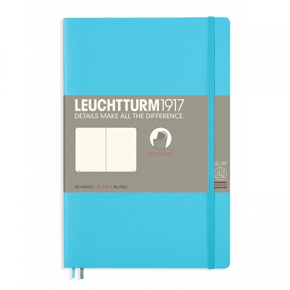 Lt358313,Leuchtturm notitieboek softcover 19x12.5 cm blanco ice blue