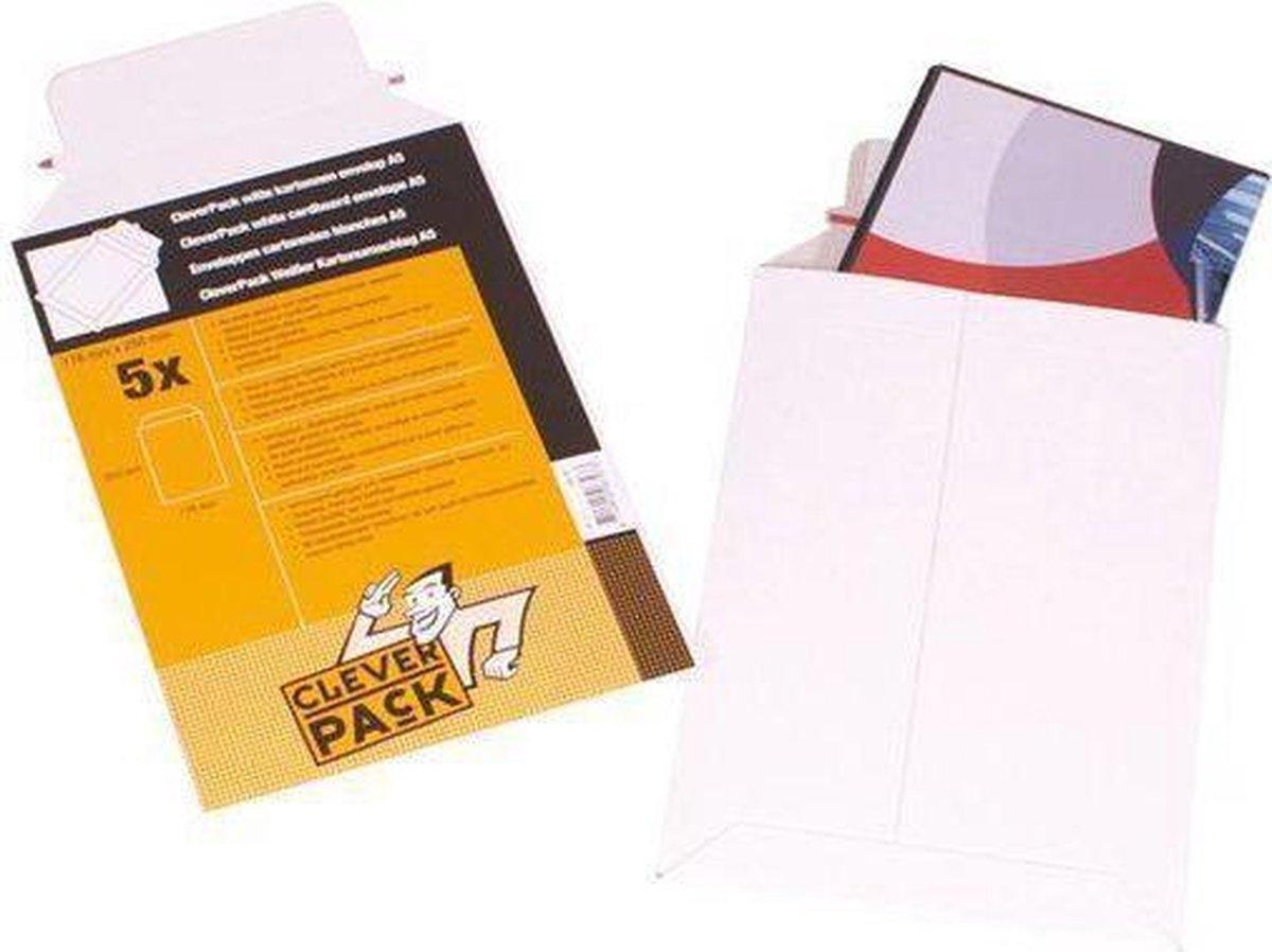,Envelop CleverPack B4 250x353Mm karton wit 5stuks