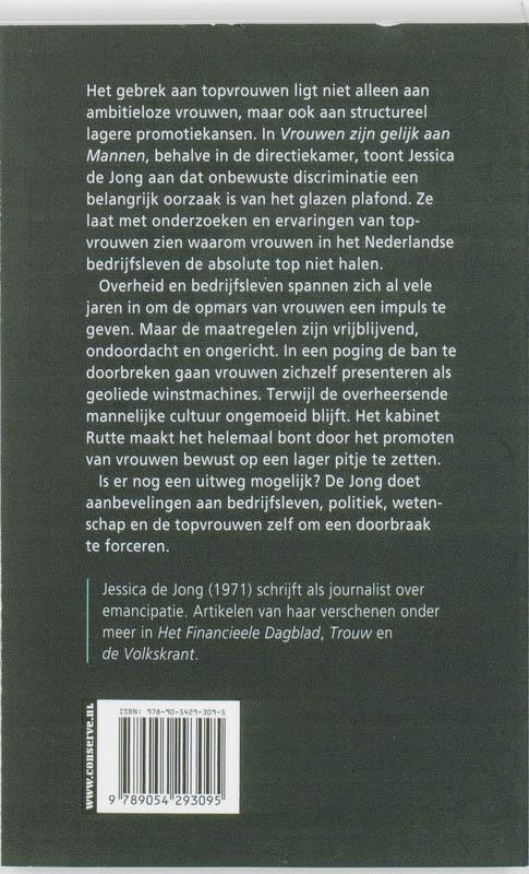 Jessica de Jong,Vrouwen zijn gelijk aan mannen