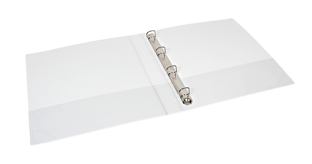 ,Presentatieringband Quantore A4 4-rings D-mech 15mm wit