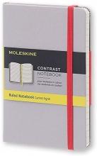 , Moleskine LE Notitieboek Contrast Pocket (9x14 cm) Gelinieerd Harde Kaft Astergrijs