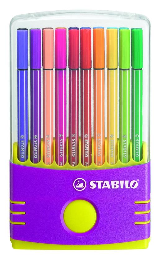 ,Viltstift STABILO Pen 68 ColorParade antraciet/roze etui à 20 kleuren