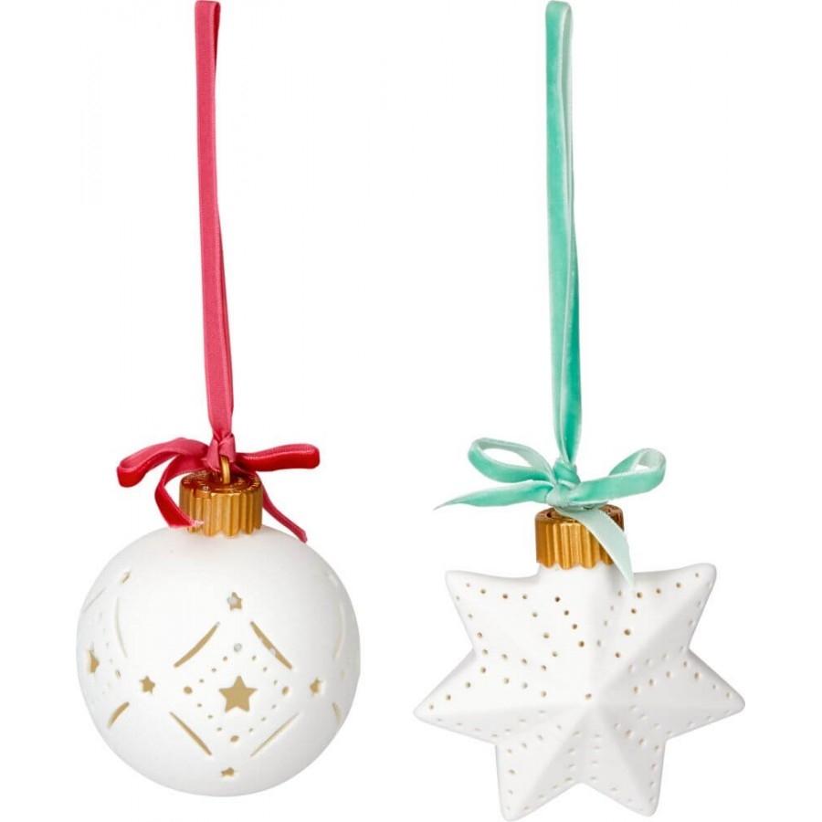 ,Kerstbal of ster met ledverlichting ass.