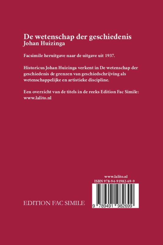 Johan Huizinga,De wetenschap der geschiedenis