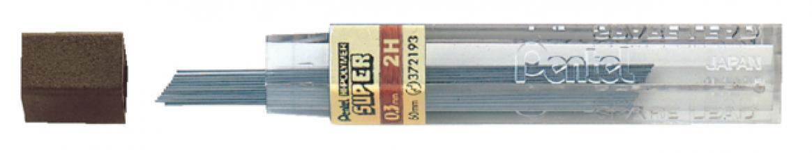 , Potloodstift Pentel 0.3mm zwart per koker 2H