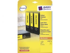 , ordnerrugetiket Avery 192x61mm geel 20 vel 4 etiketten per  vel