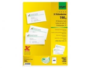 , visitekaartjes Sigel 3C 190g wit 400 stuks