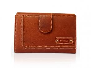 , Portefeuille dames Mika cognac leer. 15x10x3,5cm