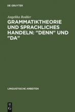 Angelika Redder Grammatiktheorie Und Sprachliches Handeln:
