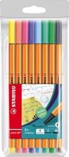 , Fineliner STABILO point 88 pastel etui à 8 kleuren