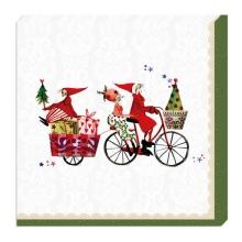 , Kerstservetten kerstman op fiets - 33x33cm